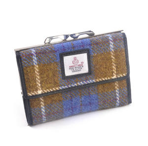 Tan & Teal Harris Tweed Check Medium Clip top Purse with Side Wallet by Cloudberry