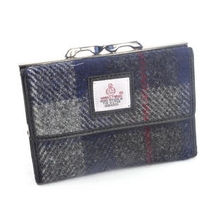Grey / Blue & Red Stripe Harris Tweed Check Medium Clip top Purse with Side Wallet by Cloudberry