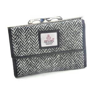 Black & White Herringbone Harris Tweed Medium Clip top Purse with Side Wallet by Cloudberry