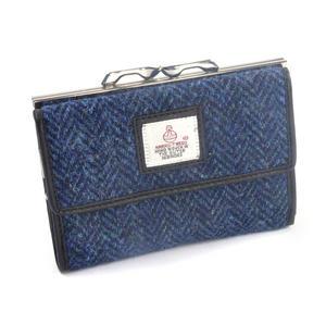Blue Herringbone Harris Tweed Medium Clip top Purse with Side Wallet by Cloudberry