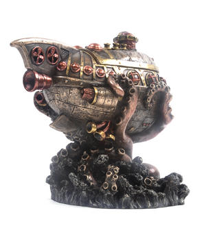 Leviathan's Escape Steampunk Sculpture 20 cm Thumbnail 5