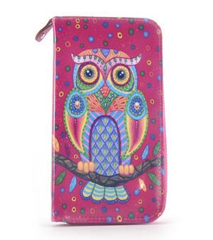 Fuchsia Folk Art Owl Long Purse