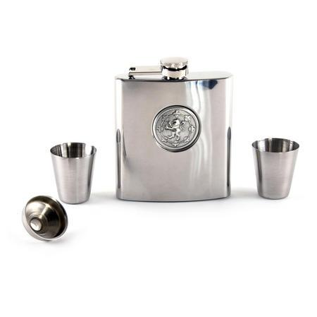 Scottish Royal Standard Lion 6oz Hip Flask Presentation Box Set with Funnel & Two Shot Cups
