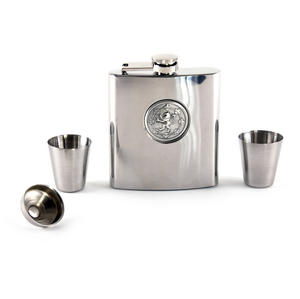 Scottish Royal Standard Lion 6oz Hip Flask Presentation Box Set with Funnel & Two Shot Cups Thumbnail 1