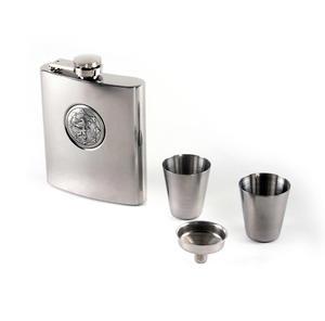 Scottish Royal Standard Lion 6oz Hip Flask Presentation Box Set with Funnel & Two Shot Cups Thumbnail 4