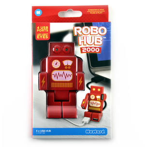 Robo Hub 2000 4 Port Super Hub USB 2.0 Hub LED Eyes - Windows & Mac