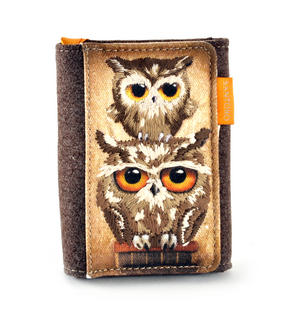 Book Owls - Wool & Canvas Wallet By Santoro Thumbnail 2