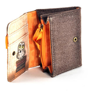 Book Owls - Wool & Canvas Wallet By Santoro Thumbnail 4