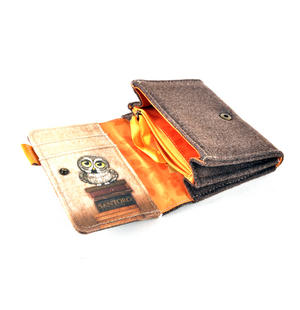 Book Owls - Wool & Canvas Wallet By Santoro Thumbnail 5