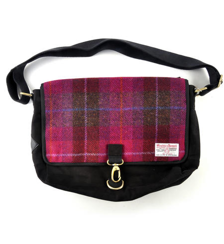 Harris Tweed Cerise Tartan Despatch Bag