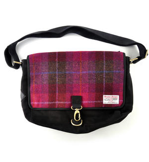 Harris Tweed Cerise Tartan Despatch Bag Thumbnail 1