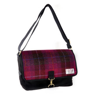 Harris Tweed Cerise Tartan Despatch Bag Thumbnail 4