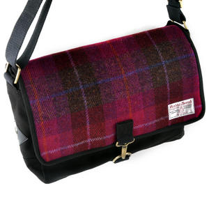 Harris Tweed Cerise Tartan Despatch Bag Thumbnail 5