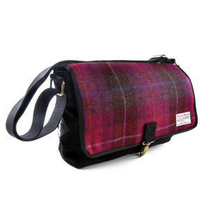 Harris Tweed Cerise Tartan Despatch Bag Thumbnail 6