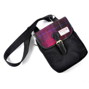 Harris Tweed Cerise Tartan Compact Side Bag