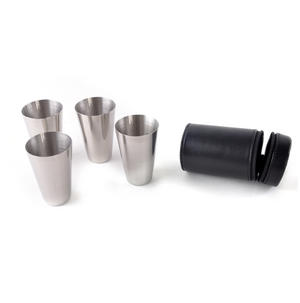 Large 4 Shot Cup Set in Black Leather Case Thumbnail 1