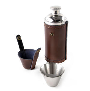 8oz Brown Leather Hunting Flask with Cups Thumbnail 2