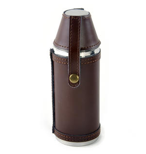 8oz Brown Leather Hunting Flask with Cups Thumbnail 4