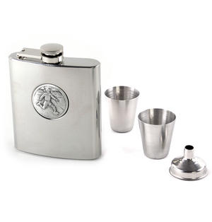Footballer - 6oz Hip Flask Presentation Football Box Set with Funnel & Two Cups