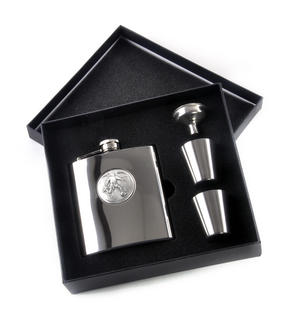 Footballer - 6oz Hip Flask Presentation Football Box Set with Funnel & Two Cups Thumbnail 3