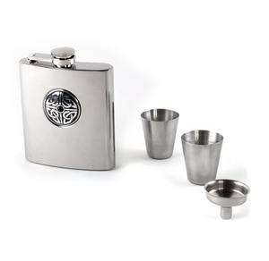 Celtic Knot with Black Stone - 6oz Hip Flask Presentation Box Set with Funnel & Two Cups Thumbnail 2