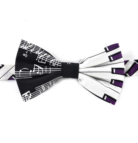Musician's Bow Tie with Music Score and Piano Keys