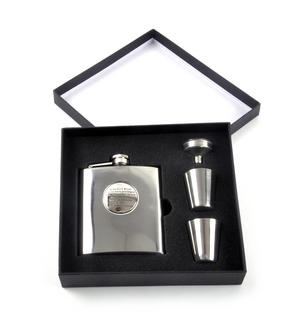 To Be Born Welsh - 6oz Hip Flask Presentation Football Box Set with Funnel & Two Cups Thumbnail 3