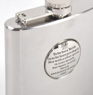 To Be Born Welsh - 6oz Hip Flask Presentation Football Box Set with Funnel & Two Cups Thumbnail 5