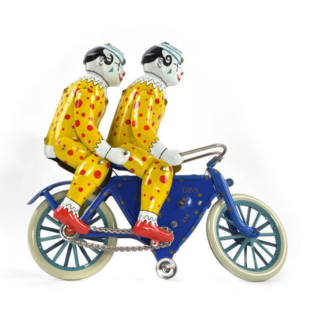 The Two Tin Tandem Clowns  - Classic Clockwork Collector's Toy
