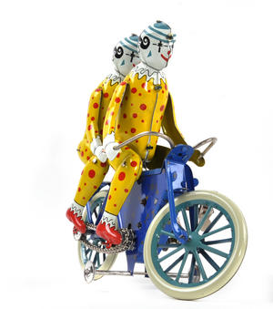 The Two Tin Tandem Clowns  - Classic Clockwork Collector's Toy Thumbnail 3