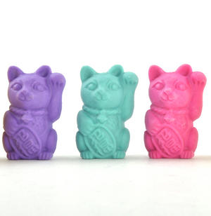 Lucky Cat Erasers - A Jar of Cat Pencil Top Rubbers