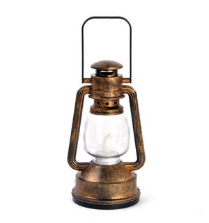 LED Lantern with Flicker Flame - Random Colours (Silver & Gold) Battery Lamp