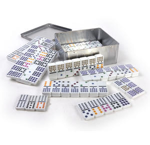 Classic Dominoes - Set of Domino Double Fifteens in A Metal Box