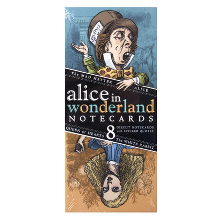 8 Alice in Wonderland Notecards - Greeting Cards With Sticker Quotes