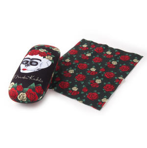 Frida Kahlo Floral Skull Glasses Case and Lens Cloth Set