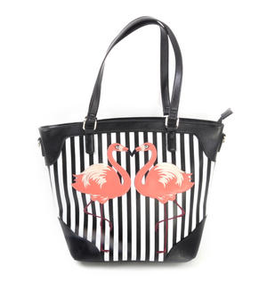 Flamingos Black & White Striped Large Shopping / Shoulder Bag
