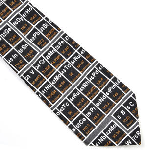 Periodic Table Black Silk Tie for Physicists