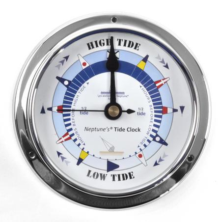 Blue Dial Tide Clock - Polished Brass / Chromed / Varnished TC 1000B - CH 115 x 95 x 35mm
