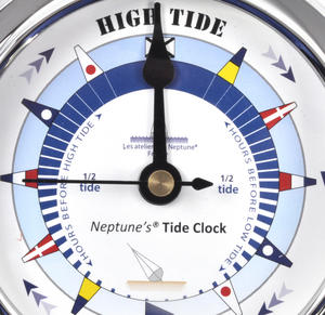 Blue Dial Tide Clock - Polished Brass / Chromed / Varnished TC 1000B - CH 115 x 95 x 35mm Thumbnail 2