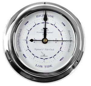 Classic Blue Tide Clock  - Polished Brass / Chromed / Varnished TC 2000 E - CH 145 x 120 x 40mm