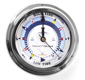 Blue Dial Tide Clock - Polished Brass / Chromed / Varnished TC 2000B - CH 145 x 120 x 40mm