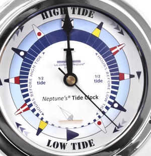Blue Dial Tide Clock - Polished Brass / Chromed / Varnished TC 2000B - CH 145 x 120 x 40mm Thumbnail 2
