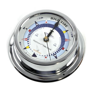 Blue Dial Tide Clock - Polished Brass / Chromed / Varnished TC 2000B - CH 145 x 120 x 40mm Thumbnail 3