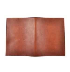 Khimaar Tan Leather Koran Book Sleeve with Alquram Alkarim Embossed Text Thumbnail 3