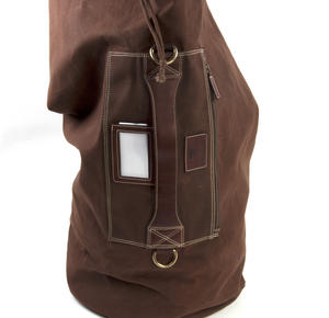 Sea Sack - Full Size Cylinder Kit Bag - Heavy Brown Canvas & Leather Thumbnail 2