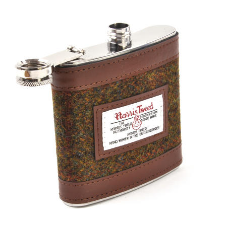 Stornoway Multi Weave Harris Tweed Hip Flask