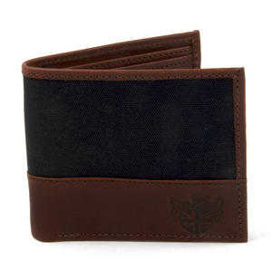 Charcoal Wax Canvas & Leather Credit Card Wallet