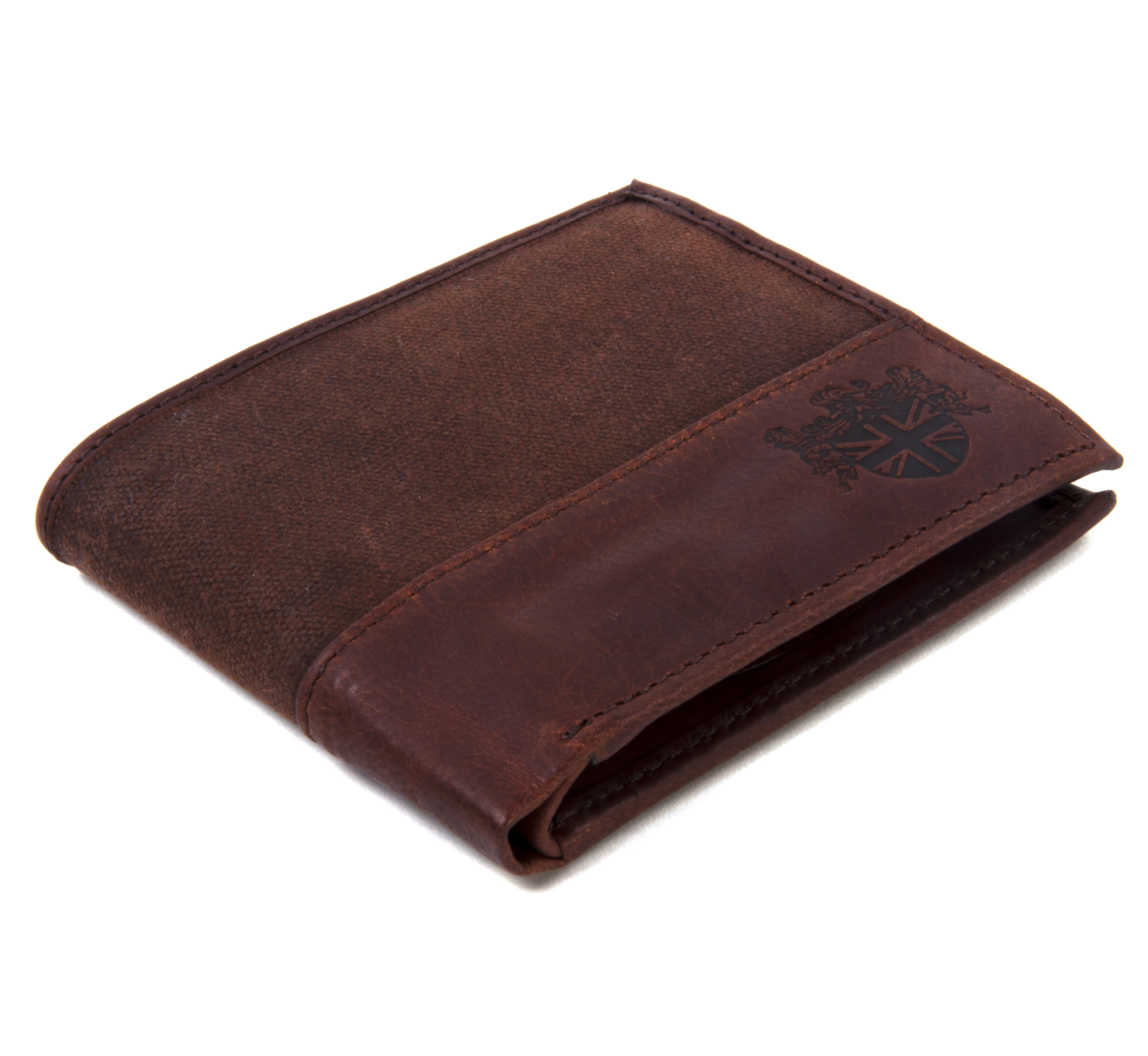 Brown Wax Canvas & Leather Credit Card Wallet   Pink Cat Shop