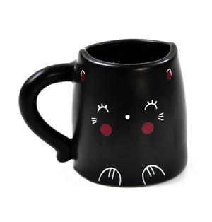 Oh K! Blushing Black Cat Mug - Heat Change Mug