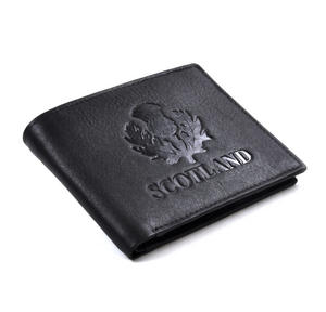 Scotland Black Embossed Leather Wallet with Coin Compartment